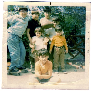 From left to right: back row: Tony, Louie, Jude, Joe, Chris, Maria, Paul is seated.