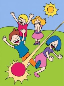 These kids playing dodge ball look way too happy